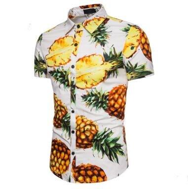 2018 hommes chemises plage mode vent grand corps ananas motif été hommes à manches courtes chemise mâle col rabattu hauts