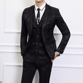 S-6XL Asia size mens 3 Piece Set ( men suits Jacket + Pant + Vest ) Wedding men Blazer Jacket with Waistcoat and Trousers