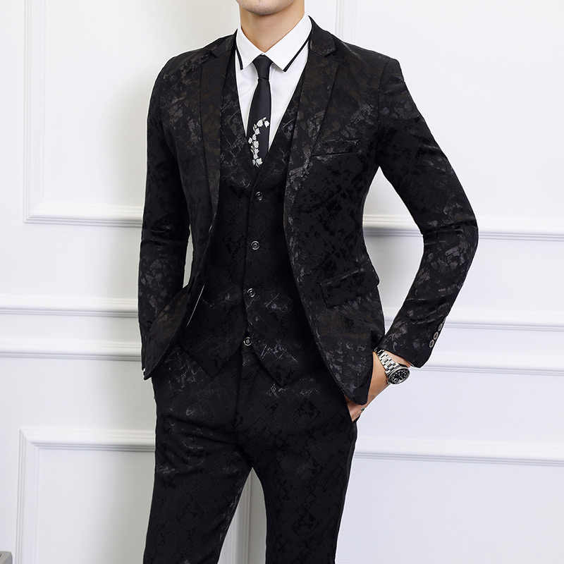 6XL mens 3 Piece Set (Jacket + Pants + Vest) Marriage, banquet, party men's suits, Jackets, pants, vests can be sold separately