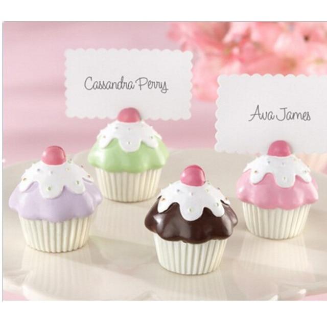CFen A's cute resin cup cake wedding place card holder wedding favor/table card holder Wedding Decoration Party Favors,4pcs/lot