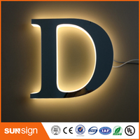 Aliexpress Factory Outlet Advertising Back Lit Stainless Steel Led Illuminated Letters