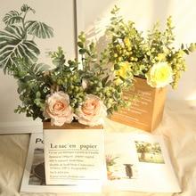 INS wind simulation Eucalyptus plants rose bouquet artificial flower wedding decoration display wreath  fake wall