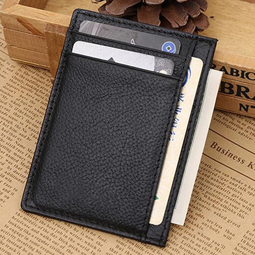 Men Full-Grain Leather Wallet Slim Business ID Credit Card Holder 9XYT