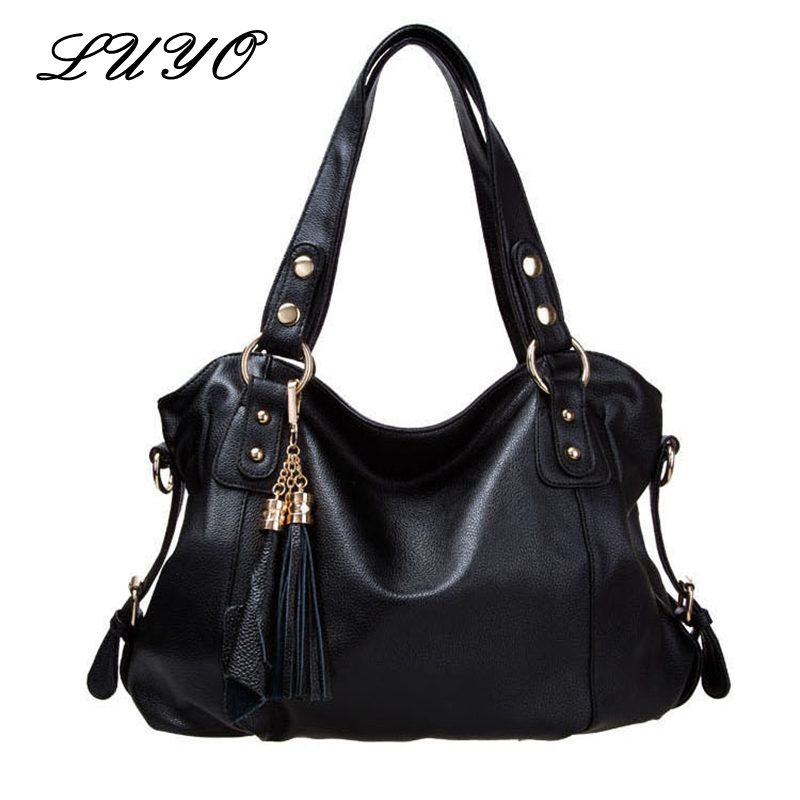 LUYO Vintage Genuine Leather Ladies Handbags Casual Hobos Tassel Women Shoulder Bag Bolsa Feminina Designer Tote High Quality forudesigns casual women handbags peacock feather printed shopping bag large capacity ladies handbags vintage bolsa feminina