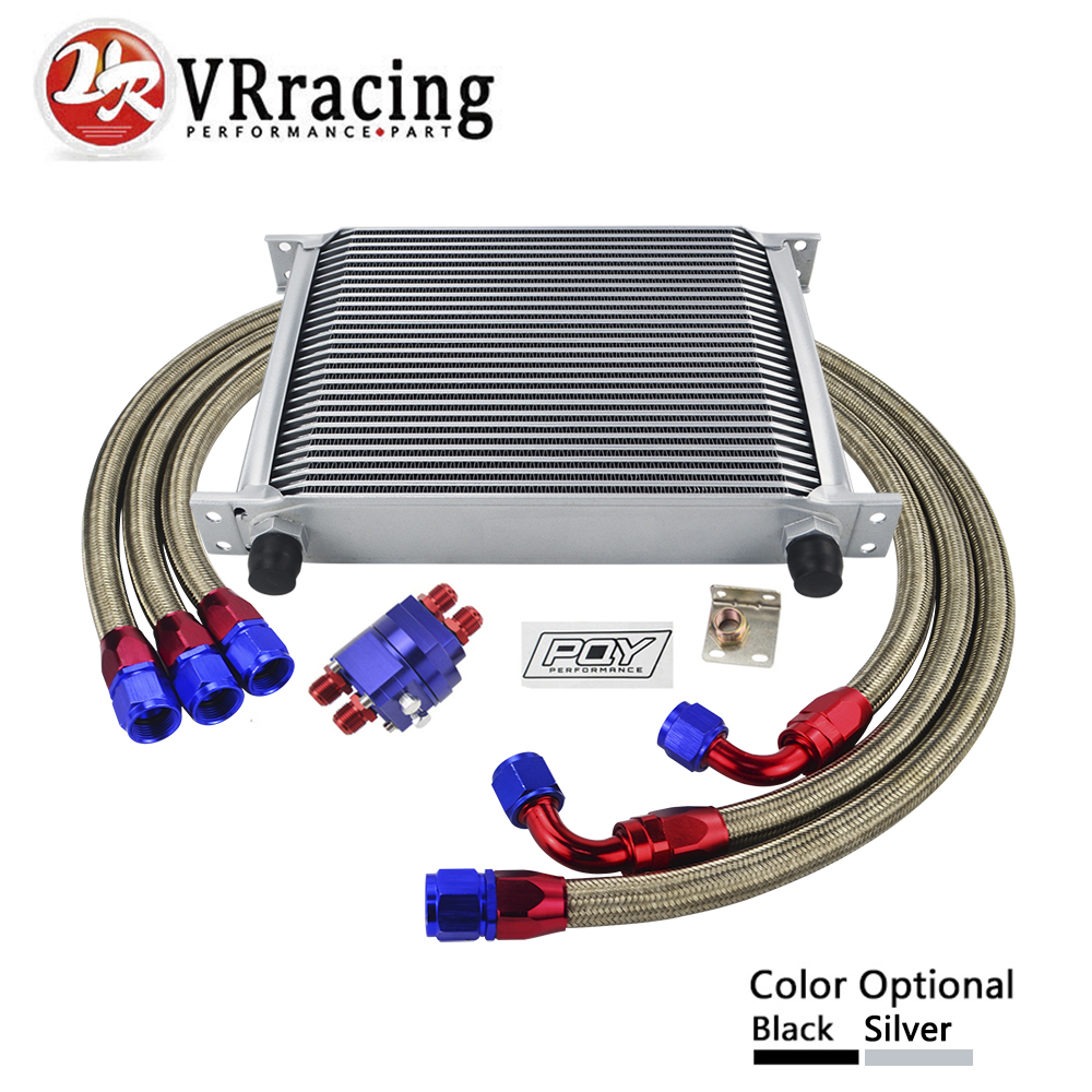 VR RACING - UNIVERSAL 28 ROWS AN10 OIL COOLER KIT +OIL FILTER ADAPTER + NYLON STAINLESS STEEL BRAIDED HOSE WITH PQY STICKER+BOX vr universal 10 rows trust type oil cooler oil filter adapter nylon stainless steel braided an10 hose w pqy sticker box