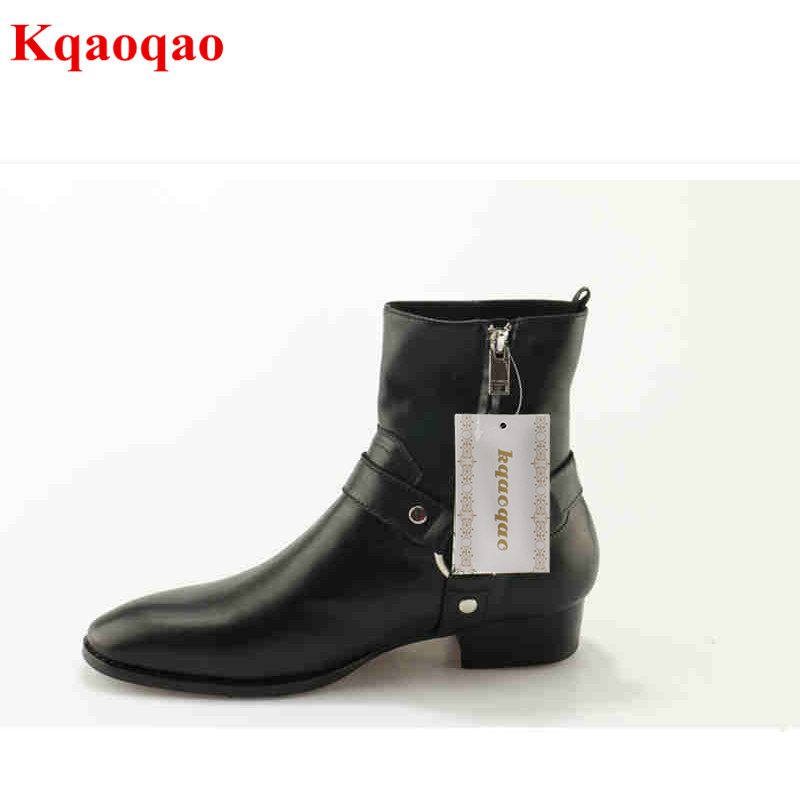 Metal Decor Luxury Brand Superstar Runway Men Boots Sapatos Masculino Design Men Ankle Short Booties Western Cowboy Hommes Boot