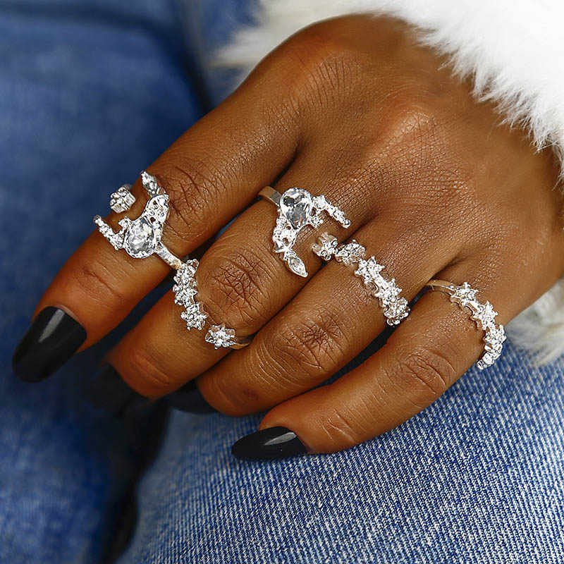 NJ12 5PCS/SET Blue White Crystal Rings Set for Women Bohemian Crown Carved Knuckle Rhinestone Midi Finger Ring Anillos Jewelry