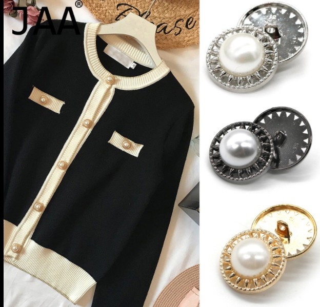 2019 New 10 Pcs Fashion High Grade Metal Pearl Jacket Buttons Shirt Sweater Button Decorations Accessories 22mm Free Shipping