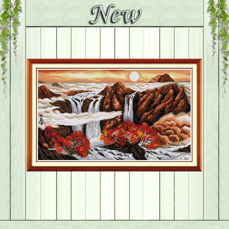 Sunrise in Autumn mountain river painting Counted print on fabric DMC 14CT 11CT DMS Embroidery Sets Cross Stitch Needlework kits