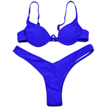 Cheap Brazilian Swimsuit Bikinis Women Bandage Sexy Push Up Swimwear Low Waist Bathing Suit Halter Swim Bather