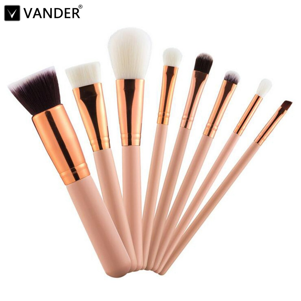 Vander 8pcs Professional Rose Pink Makeup Brushes Set Make Up Brush Tools Cosmetic Foundation Brush Kits Blending Pencil Kabuki professional cosmetic make up foundation soft brush black pink