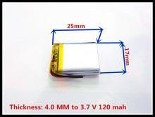 3.7V lithium polymer battery 401725 041725 120MAH GPS MP3 / 4 Recorder