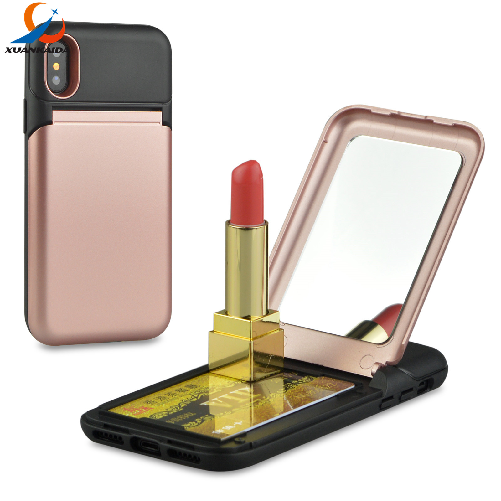 Makeup stand Mirror Hidden Credit Card Holder ID Slot Hard Plastic Phone cover For Samsung Note8 S8 Plus For Iphone X 8 7 6 6S