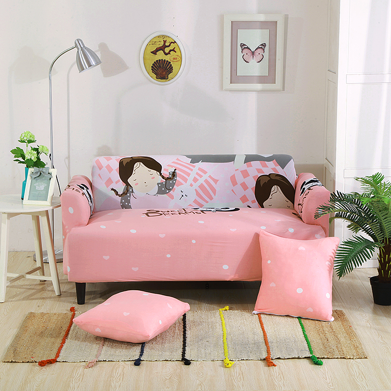 Pink Girls Universal Stretch Furniture Covers Elastic Cat