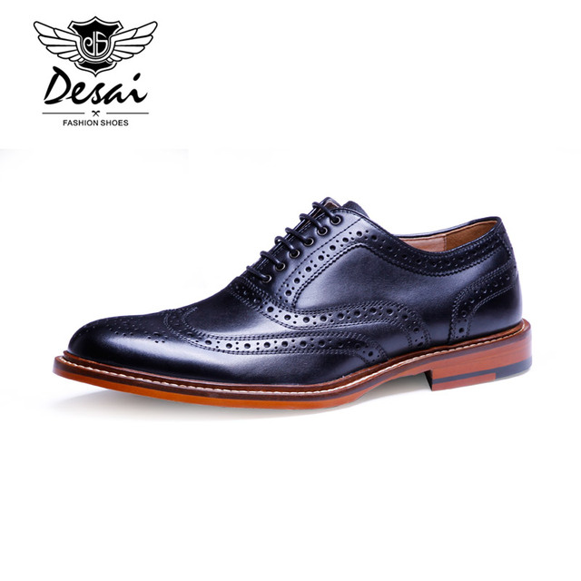 Desai Brand Mens Dress Shoes Genuine Leather Brogue Wingtip Pointed Toe Oxfords Shoes Men Flats Black