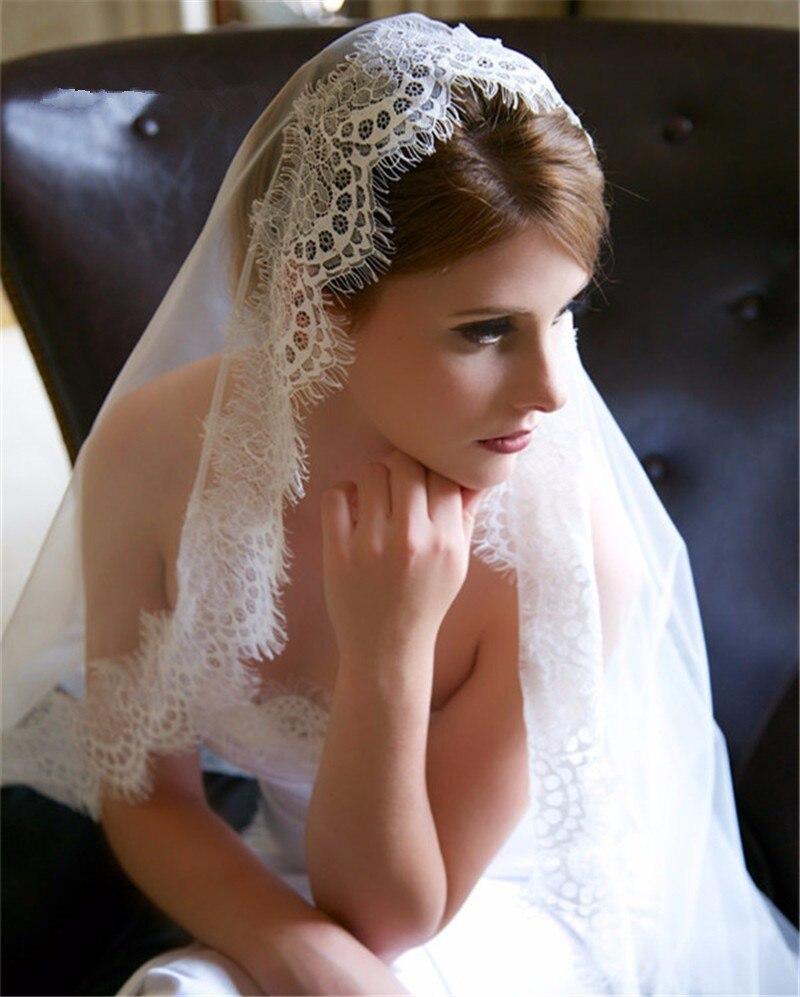 2019 New Eyelash Lace 1.5M/3M Long High-end Bridal Veil White/Ivory Wedding Veil Mantilla Wedding Accessories Veu De Noiva EE006
