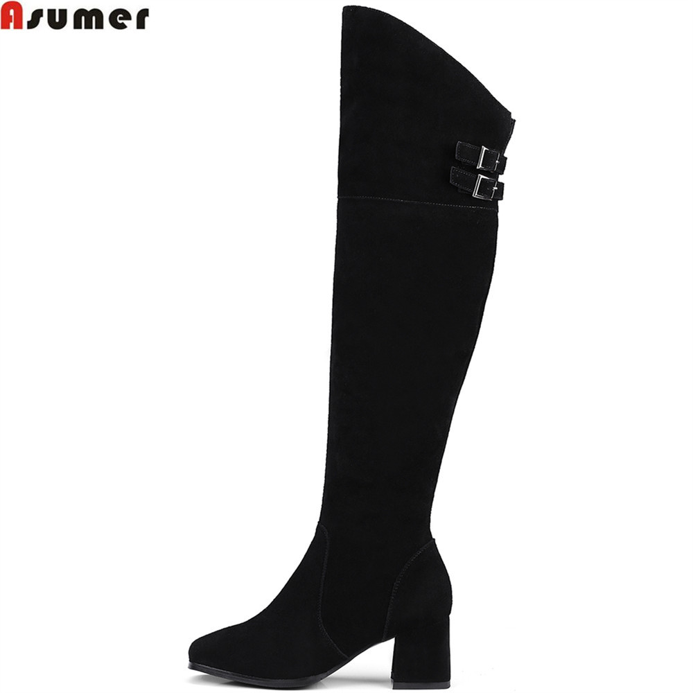 ASUMER fashion black women boots square toe zipper cow suede ladies boots square heel leather buckle sexy over the knee boots ed 404 200