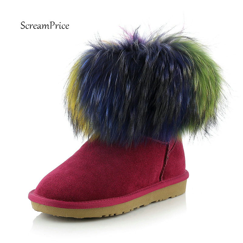 Women Suede Comfort Flat With Mixed Colors Warm Winter Snow Boots Fashion Round Toe Slip On Bootie Black Wine red cie round toe wine black mixed colors patches shoe100