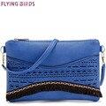 Pájaros de vuelo mujeres messenger bags cruz cuerpo de las mujeres bolso del diseñador del bolso bolsa 2016 mini ahueca hacia fuera el bolso de cuero embrague LM3244fb