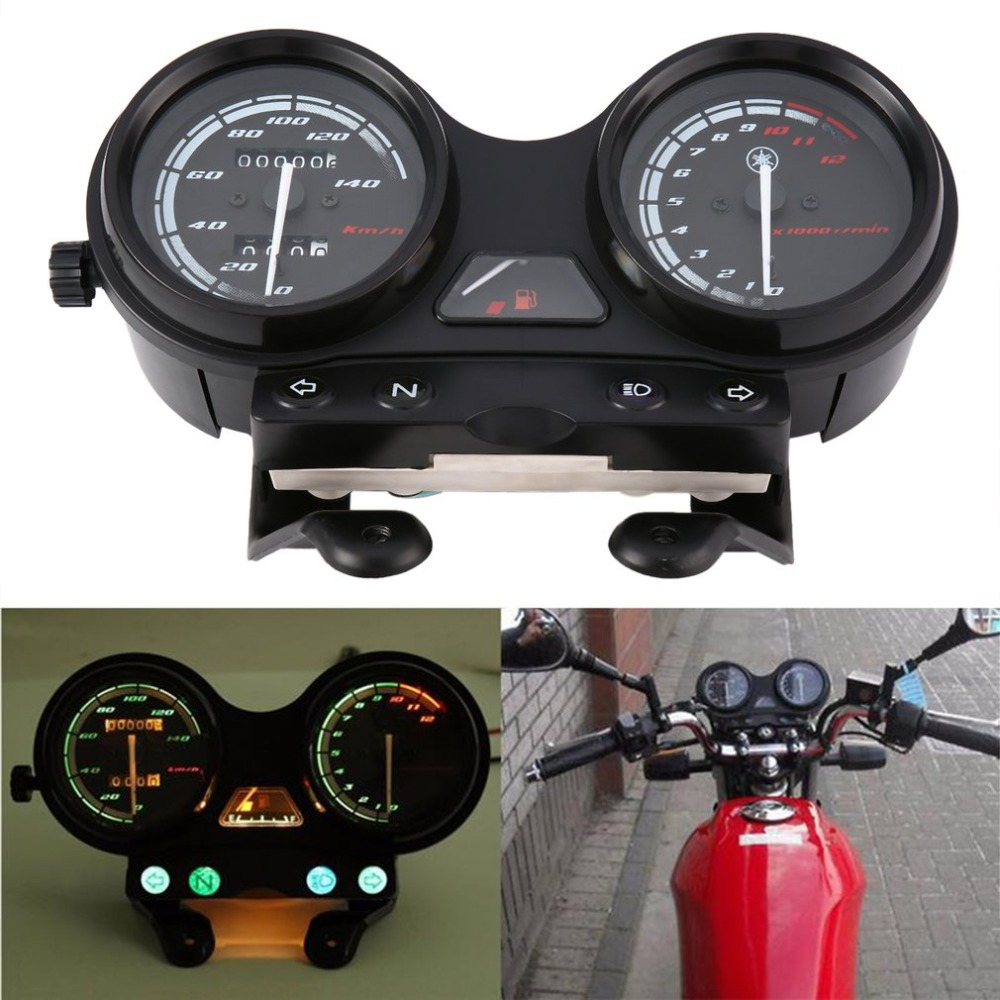 Universal Motorcycle Black LED Light Odometer + Tachometer Speedometer Gauge For YBR125-YAMAHA-JYM125 Hot
