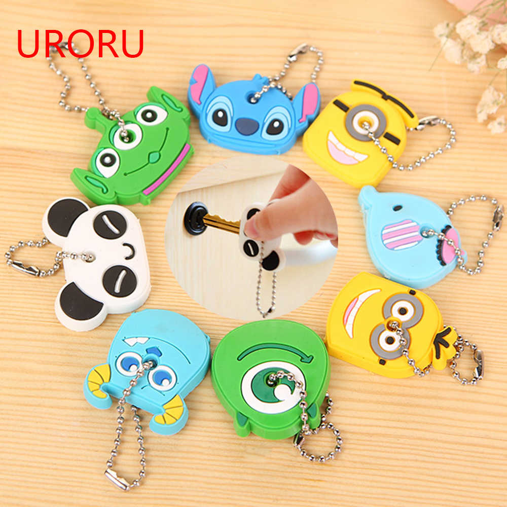 URORU 1 piece Silicone Key Cover For Women Key Cap Stitch Keychain Cartoon Panda Key Chains Cute Keyring key Holder Gifts
