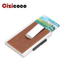 Anti Rfid Protection Card Holder Men Women Credit Card Holder Leather Vintage Mini Wallet Metal Aluminum Business id Card Case waterproof business id credit card holder wallet pocket case aluminum metal shiny side anti rfid scan cover 2016 fashion
