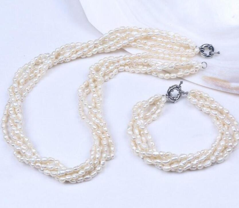 5Row Natural 4-5mm Freshwater Rice Oval Pearl Bracelet Necklace Jewelry Set5Row Natural 4-5mm Freshwater Rice Oval Pearl Bracelet Necklace Jewelry Set