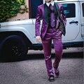 Brght de moda Trajes Para Hombre Púrpura Negro de Solapa Un Botón Trajes de Boda Del Novio Esmoquin Tailor Made Slim Fit Traje Homme