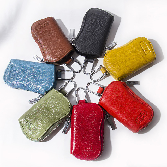 CONTACT'S Cow Leather Keys Wallets For Men Mini Key Holder Women Fashion Key Purse Small Housekeeper Card Key Holders Keychain 4