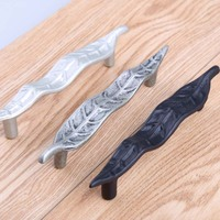 96mm Creative Retro Black Leaves Dresser Kitchen Cabinet Handles Antique Silver Drawer Watch Tv Table Pull