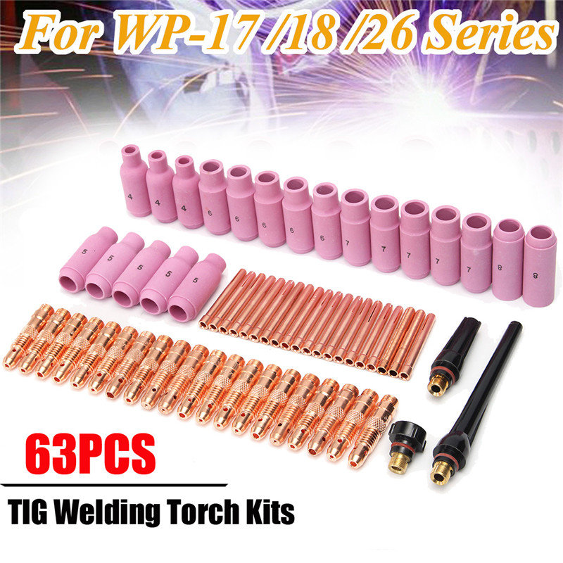 63pcs TIG Welding Torch Gas Lens Parts Replacement Kit Copper Collet Body Nozzle For WP-17/18/26 WP Tungsten wp 17f sr 17f tig welding torch complete 20feet 6meter soldering iron flexible
