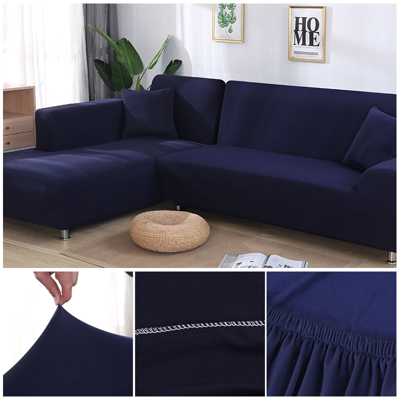 L shaped Solid Sofa Cover with Elastic for Sectional and Corner Sofa with Deep Gap Suitable in Living Room and Office 18