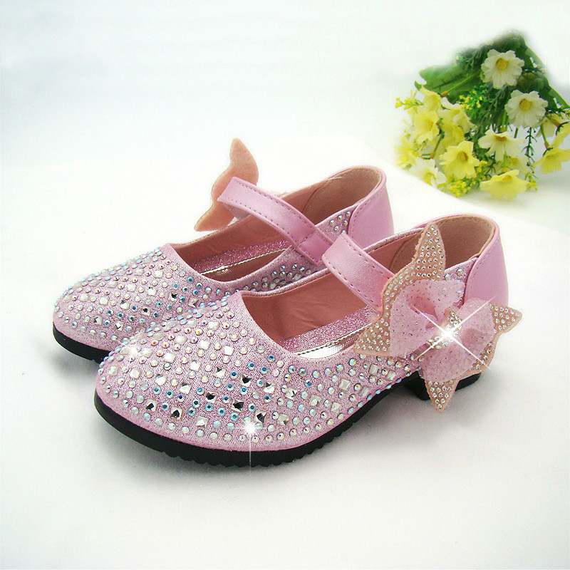 2017 Fashion Girls Shoes Rhinestone Glitter Leather Shoes For Girls Spring Children Princess Shoes 4 Colour Eu 26-36