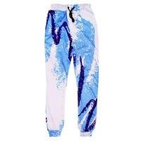 ผู้ชายJoggerกางเกงสีฟ้าสี3Dพิมพ์กาง