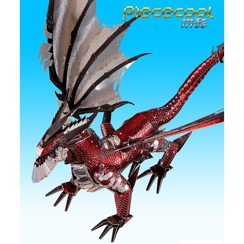 2019 Piececool 3D Metal Puzzle The Black Dragon Model DIY Laser Cut Assemble Jigsaw Toy Desktop decoration GIFT For Audit kids