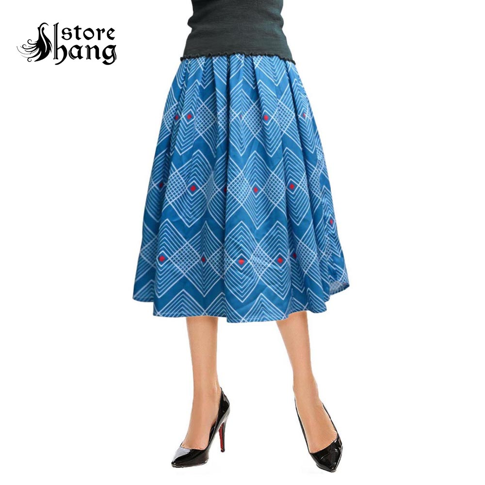 1950s Rero Blue Plaid Pleated Vintage Skirt Women's Elegent Rhombus Grid Pattern High Waist Tea-length A-Line Midi Skirt