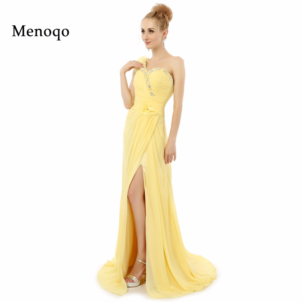 28c7aa0c9c Vestidos de festa Abendkleider linia jedno ramię szyfon podziel długa  formalne sukienki na przyjęcie 2019 New Arrival żółty prawdziwe Prom Dress