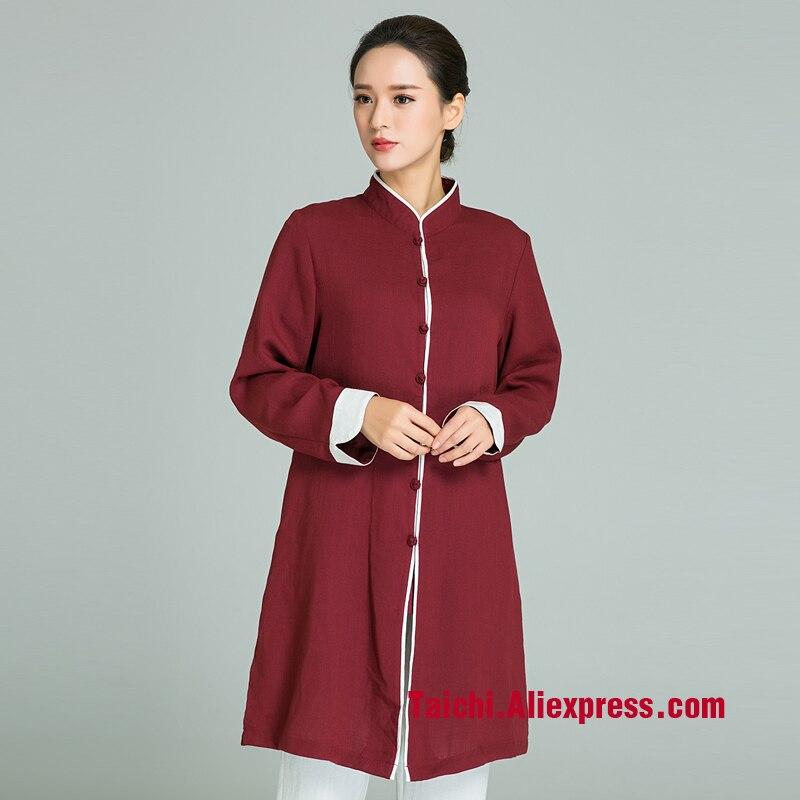 Costume dart martial fait main en lin Tai Chi uniforme Wushu Kung Fu jupe Tai Chi style chinois couleur rouge vinCostume dart martial fait main en lin Tai Chi uniforme Wushu Kung Fu jupe Tai Chi style chinois couleur rouge vin