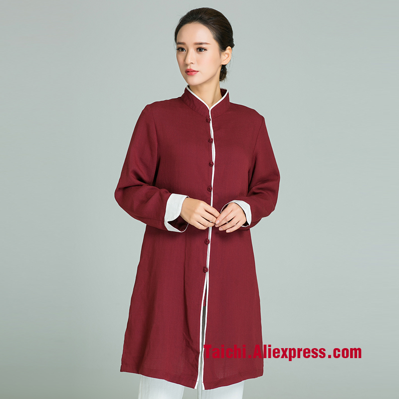 все цены на Handmade Linen Tai Chi Uniform Wushu Kung Fu martial Art Suit Tai Chi Skirt Chinese Stlye Wine Red Color онлайн