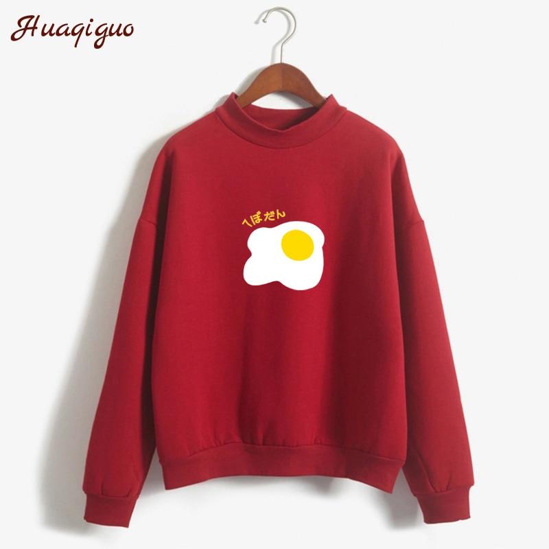 Autumn Harajuku Kawaii Egg Print Hoodies Winter Women Pastel Colors Sweatshirt Turtleneck Fleece Moletom Pullover Drop Shipping