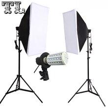 2 pces 24 w lâmpadas led e27 foto iluminação de vídeo softbox kit luz difusa 2 pces softbox 2 pces suporte de luz 2 pces suporte de luz