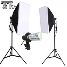 2 pièces 24 W LED E27 Ampoules Photo vidéo eclairage softbox kit Lumière diffuse Kit 2 pièces softbox 2 pièces support de lumière 2 pièces support de lumière