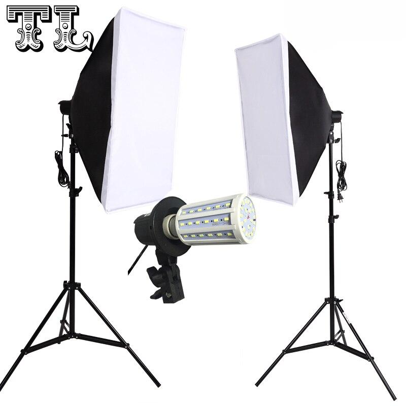 2PCS 24W LED E27 Bulbs Photo video lighting softbox kit Light diffuse Kit 2pcs softbox 2pcs light stand 2pcs light holder