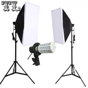 Image 1 - 2PCS 24W LED E27 Bulbs Photo video lighting softbox kit Light diffuse Kit 2pcs softbox 2pcs light stand 2pcs light holder