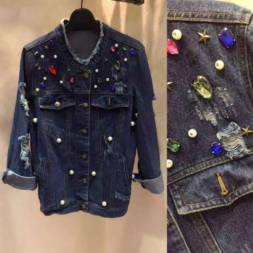 2016 fashion jacket font b women b font diamond and pearls jaqueta feminina unique denim jacket
