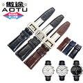 Aotu venda de reloj reloj de correa de piel de cocodrilo cocodrilo cuero genuino para iwc portugieser iw371446 cronógrafo 20mm + herramientas gratuitas