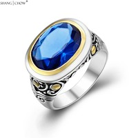 Autumn Charm Jewelry Gold Around Blue Quartz 925 Sterling Silver Ring for women Casual Clothes Birthday Gift R1469