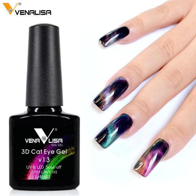 Venalisa New 6 Colors Metal Chameleon Change Color Cat Eyes Gel Polish Top Coat Magnetic Nail