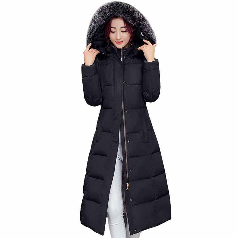 Winter Jacket Women 2017 Big Fur Collar hooded cotton Coats Long Thick Parkas Womens Winter warm Jackets plus size Coats QH0578 new women winter cotton jackets long coats hooded fur collar parkas thick warm jacket plus size female slim outerwear okxgnz1072