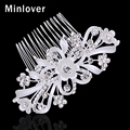 Minlover Wedding Hair Accessories Crystal Bridal Comb for Women Silver Plated Flower Shape Rhinestones Hair Jewelry MFS106